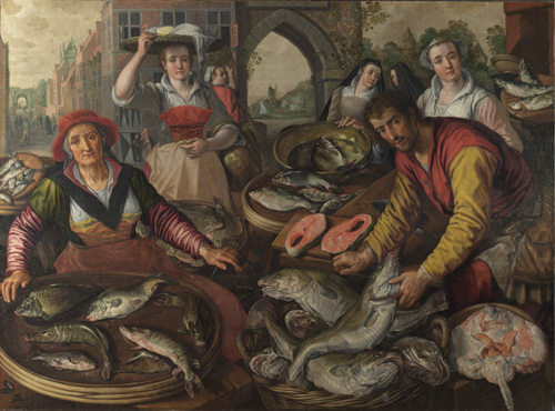 The Four Elements: Water. A Fish Market with the Miraculous Draught of Fishes in the Background by Joachim Beuckelaer
