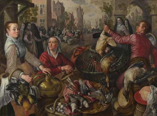 The Four Elements: Air. A Poultry Market with the Prodigal Son in the Background by Joachim Beuckelaer