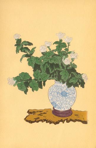 White Chrysanthemum in Sometsuke Round Vase by Moribana & Heikwa