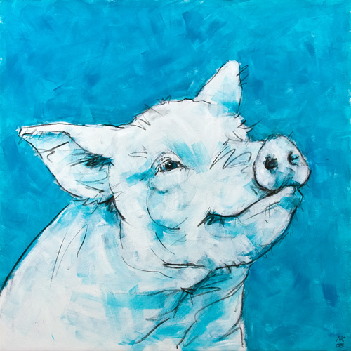 Pig on Blue by Nicola King