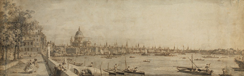 View from Somerset Gardens looking towards London Bridge by Giovanni Canaletto