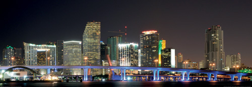 Downtown Miami Skyline at Night by Philip Lange