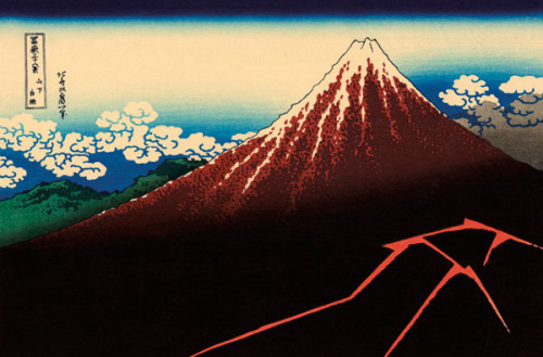 Lightning Below the Summit by Katsushika Hokusai