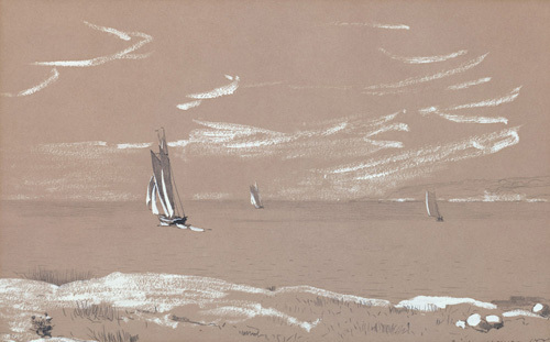 Sailboats and Beach, 1880 by Winslow Homer