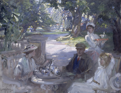 The Garden Party - Tea being served to a Convalescent Soldier by Sir James Guthrie