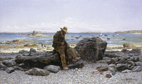 Mending the Nets, 1875 by Henri Saintin