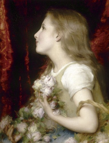 Young Girl with Flowers by Etienne Adolph Piot