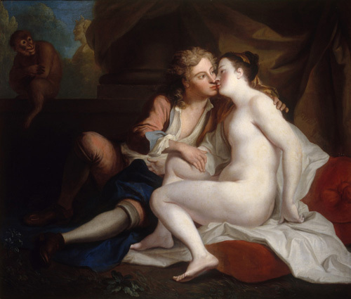 The Sense Of Touch: a Youth Kissing an Unclad Woman by Louis de Silvestre