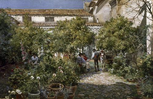 A Courtyard Scene in Seville, 1905 by Manuel Garcia y Rodriguez