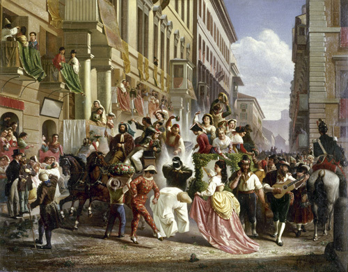 Carnival on the Piazza Colonna by Carl Max Gerlach Quaedvlieg