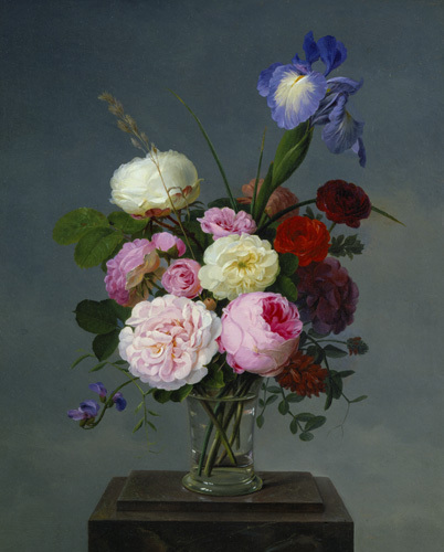 Still Life with Roses and Iris in Glass Vase, 1832 by Johannes Ludvig Camradt