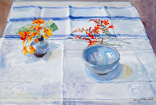 Nasturtiums and Monbretia by Lucy Willis
