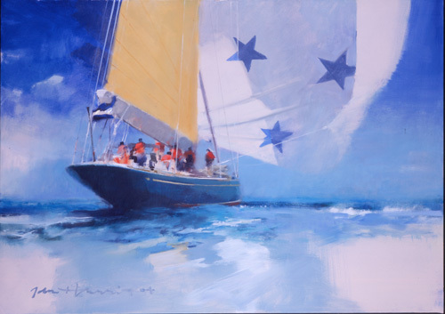 Endeavour with Spinnaker by John Harris