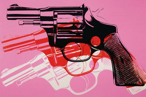 Gun, c.1981-82 (black, white, red on pink) by Andy Warhol