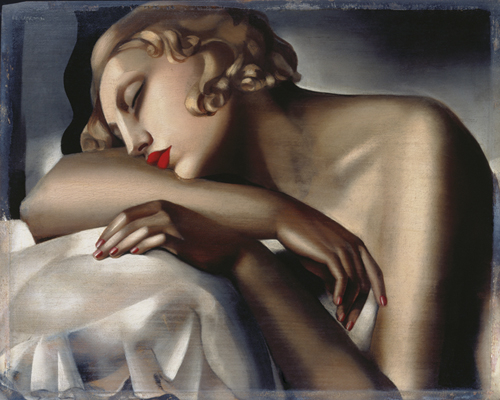 the sleeping girl art print by tamara de lempicka king. Black Bedroom Furniture Sets. Home Design Ideas