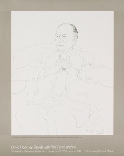 Sir John Gielgud, 1979 by David Hockney