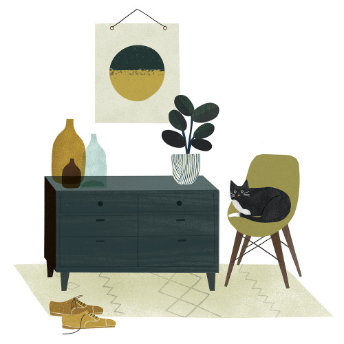 Mid Century Cat by Clare Owen