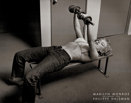 Marilyn Monroe with Weights, Hollywood 1952 by Philippe Halsman