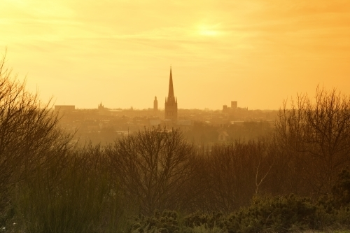 Winter Sunset Over Norwich by Richard Osbourne