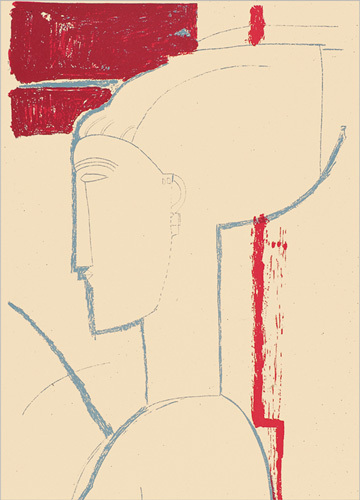 Testa scultorea (Silkscreen print) by Amedeo Modigliani