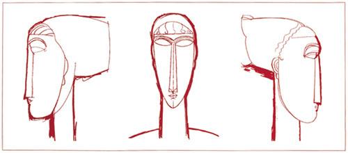 Tete (red) (Silkscreen print) by Amedeo Modigliani