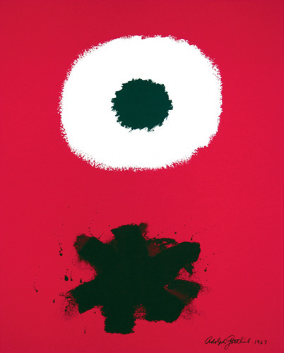 White disc - red ground, 1967 by Adolph Gottlieb