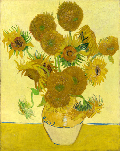 Sunflowers on Gold (small) by Vincent Van Gogh