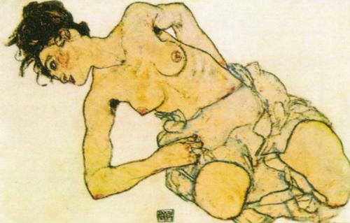 Kneeling Half-undressed Woman by Egon Schiele