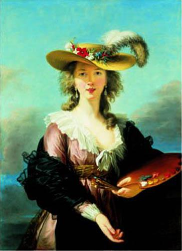 Self Portrait in a Straw Hat by Marie Elisabeth Louise Vigee-Lebrun