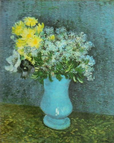 Vase of Lilac, Daisies and Anemones, 1887 by Vincent Van Gogh