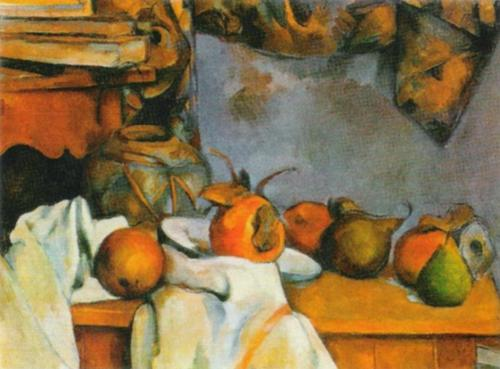 Straw-covered Vase and Plate with Fruit by Paul Cezanne