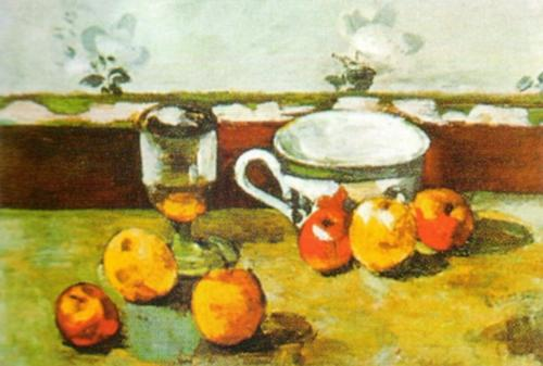 Still Life with Apples, Cup and Glass by Paul Cezanne
