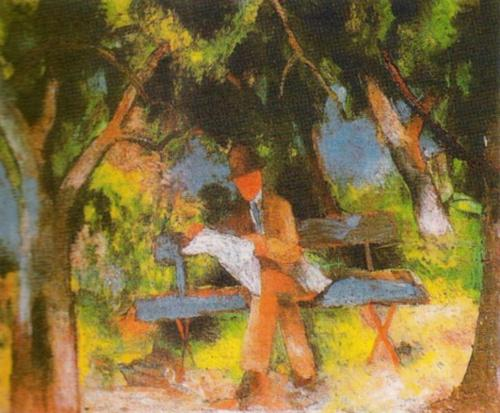 Lesender Mann in Park by August Macke