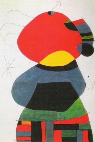 Femme avec Trois Cheveux Entourneé par des Oiseaux by Joan Miro