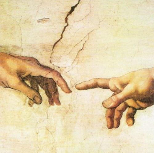 Creation of Adam (Detail - fingers) by Michelangelo