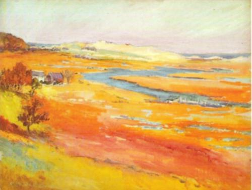 Marshlands with House, Essex Marshes by Gertrude Beals Bourne