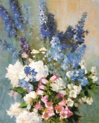 Larkspur, Peonies and Canterbury Bells by Laura Coombs Hills
