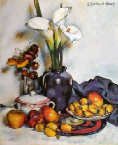 Still Life with Arum Lilies and Fruit by Stanton Macdonald-Wright