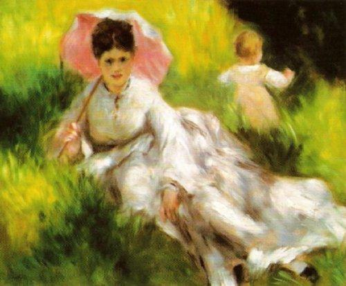 Woman with a Parasol and a Small Child by Pierre Auguste Renoir