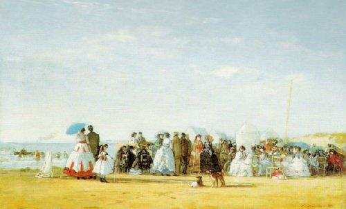 Fashionable Figures on the Beach by Eugene Louis Boudin