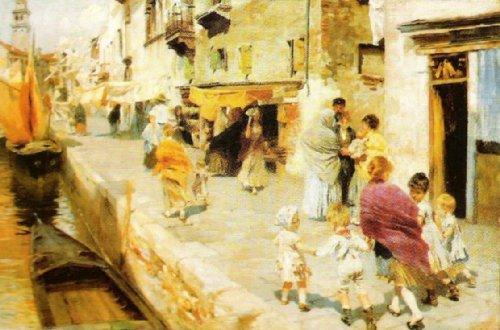 Breezy Day in Venice by Ettore Tito
