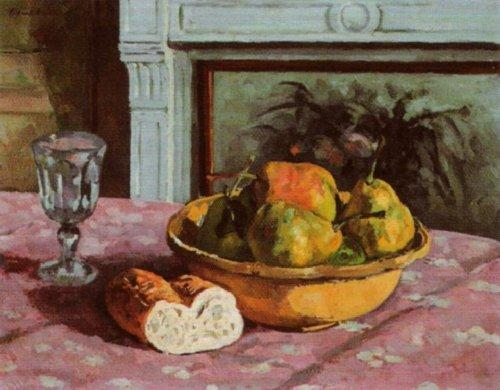 Bowl of Pears, Bread and a Glass on a Table by Albert André
