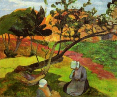 Landscape with Two Breton Women by Paul Gauguin