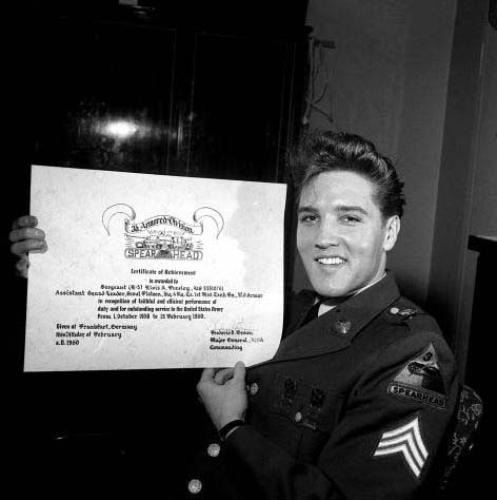 Elvis Presley at press conference in Germany March 1960 by Mirrorpix