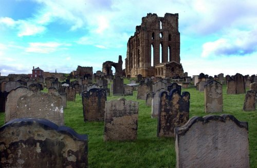 Grave stones at Tynemouth Priory by Mirrorpix