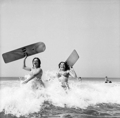 Women body boarding, 1960 by Mirrorpix