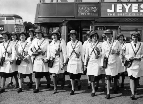 Women conductresses ready for work, 1940 by Mirrorpix