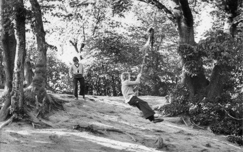 Children enjoy a rope swing by Mirrorpix