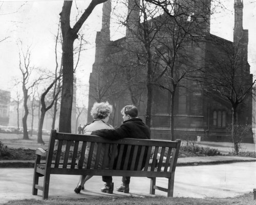 Couple enjoy a cuddle on a park bench by Mirrorpix