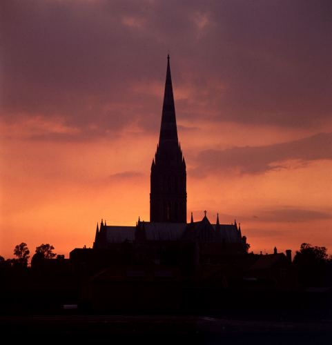 Sunset on Salisbury Cathedral by Mirrorpix